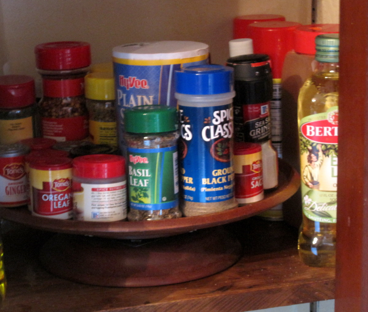 We use a little lazy Susan in our corner kitchen cupboard for our spices.