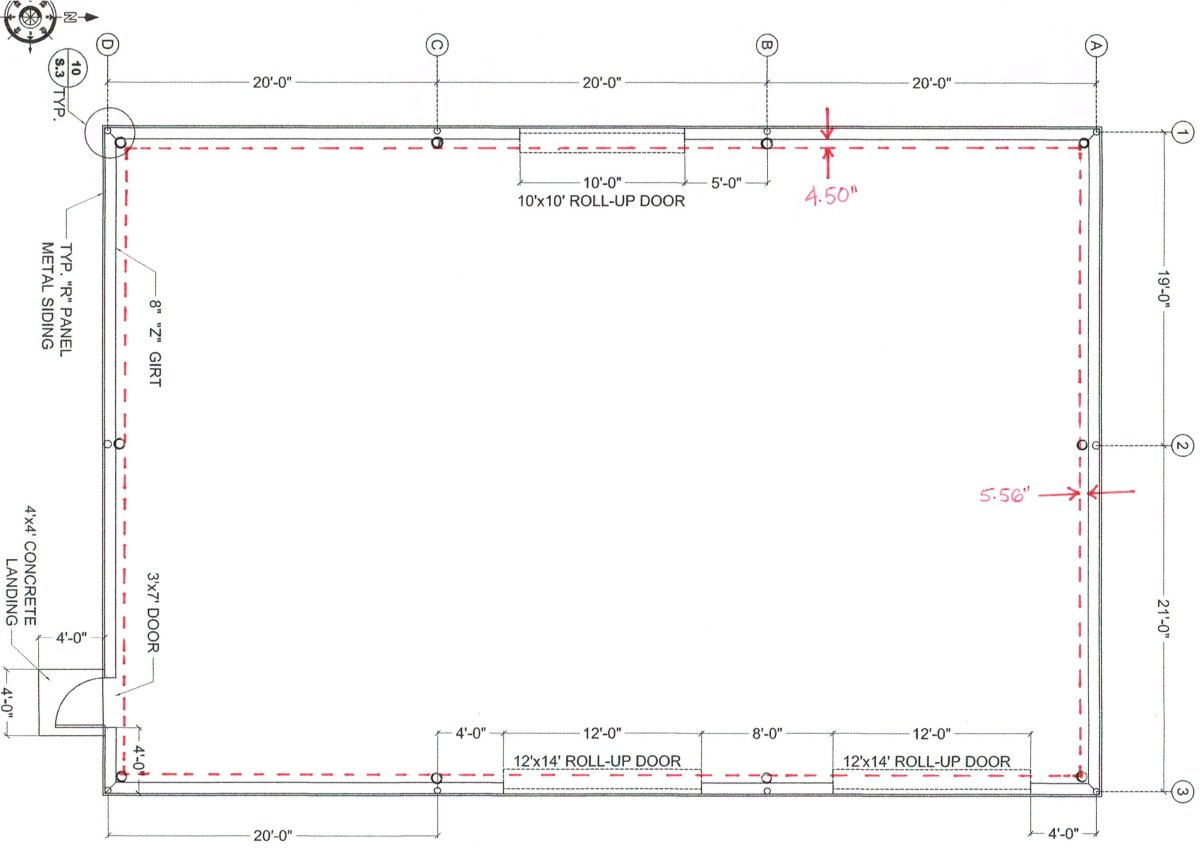 When columns are inset, there is a net loss of the area shown by the dashed red line. In a 40x60, this is 80 square feet, or 3.4% of the building.