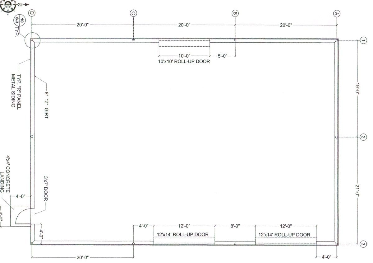 "A scaled foundation plan. This shows 8"" girts, and columns ""in the wall"". Most local contractors build this way. This layout provides 2,333 square feet of unrestricted area."