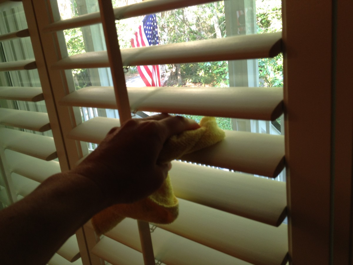 Deep cleaning blinds: Wipe blinds down with a damp cloth.