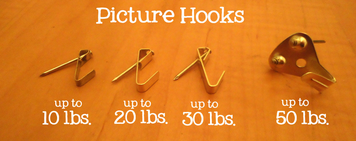 Picture hooks come in handy for different weights.