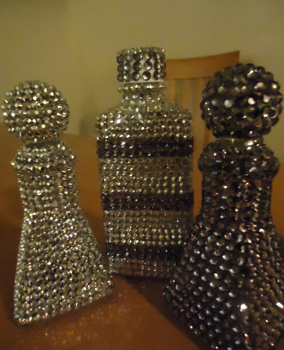 Bottles covered with rhinestones