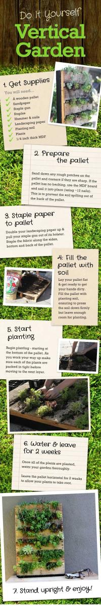 In The Photo Above Are Detailed Instructions On Building A Vertical Garden. I  Did This Project And It Turned Out Wonderful.