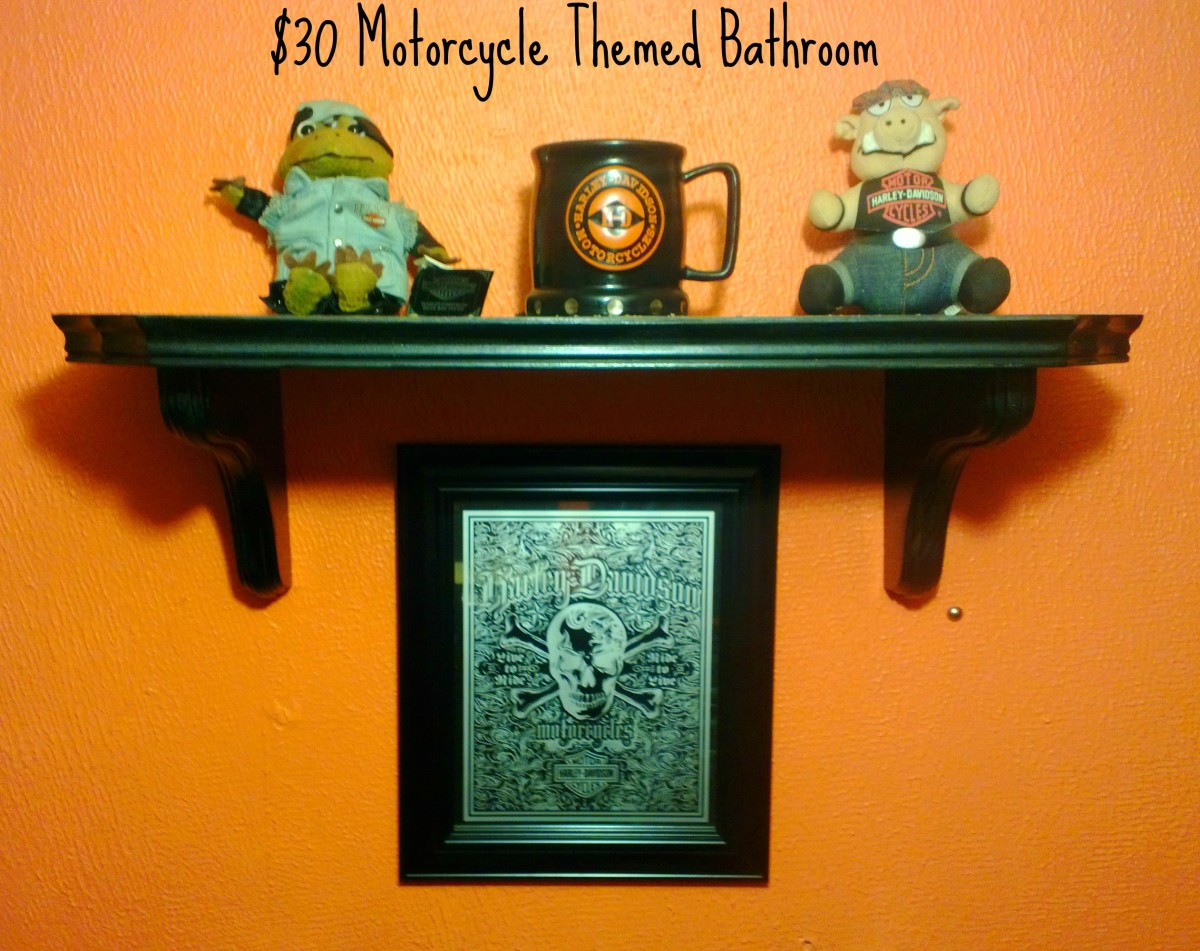 $30 motorcycle themed bathroom. Salvaged shelf to hold husband's collectibles.