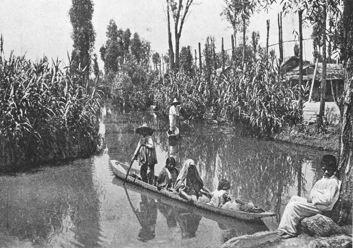 "Related to the islands are ""chinampas"" - soil extensions built out into a lake by the Aztecs in Mexico. This photo was taken in 1912."
