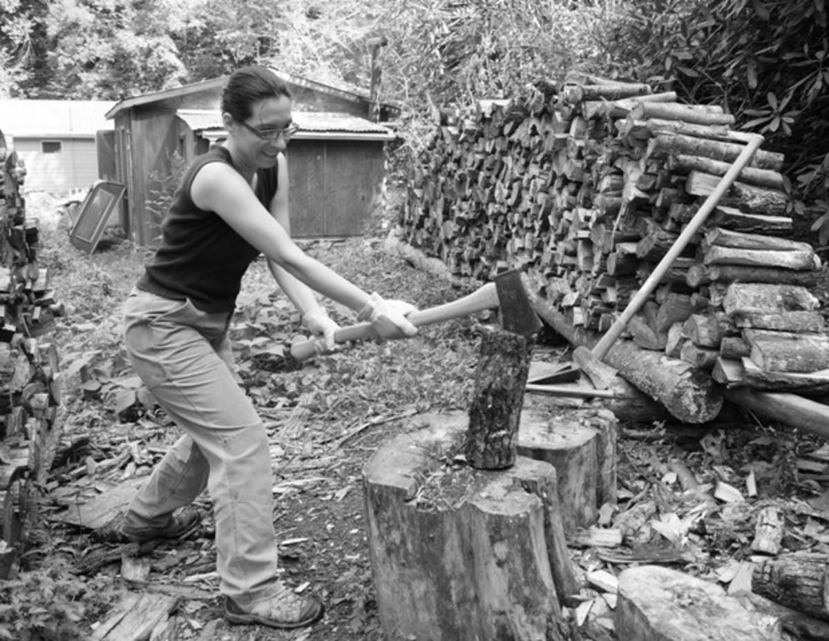 It's not fun getting the ax stuck.