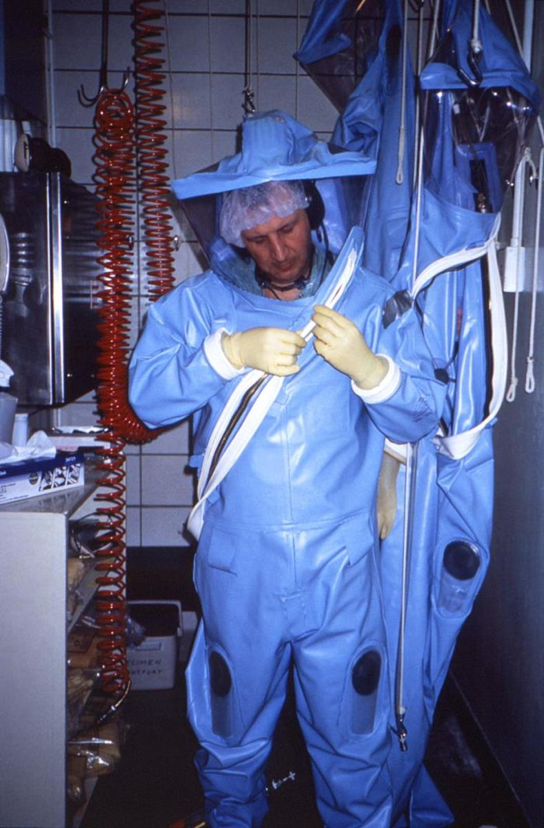 Certified mold remediators are required to wear biohazard gear.