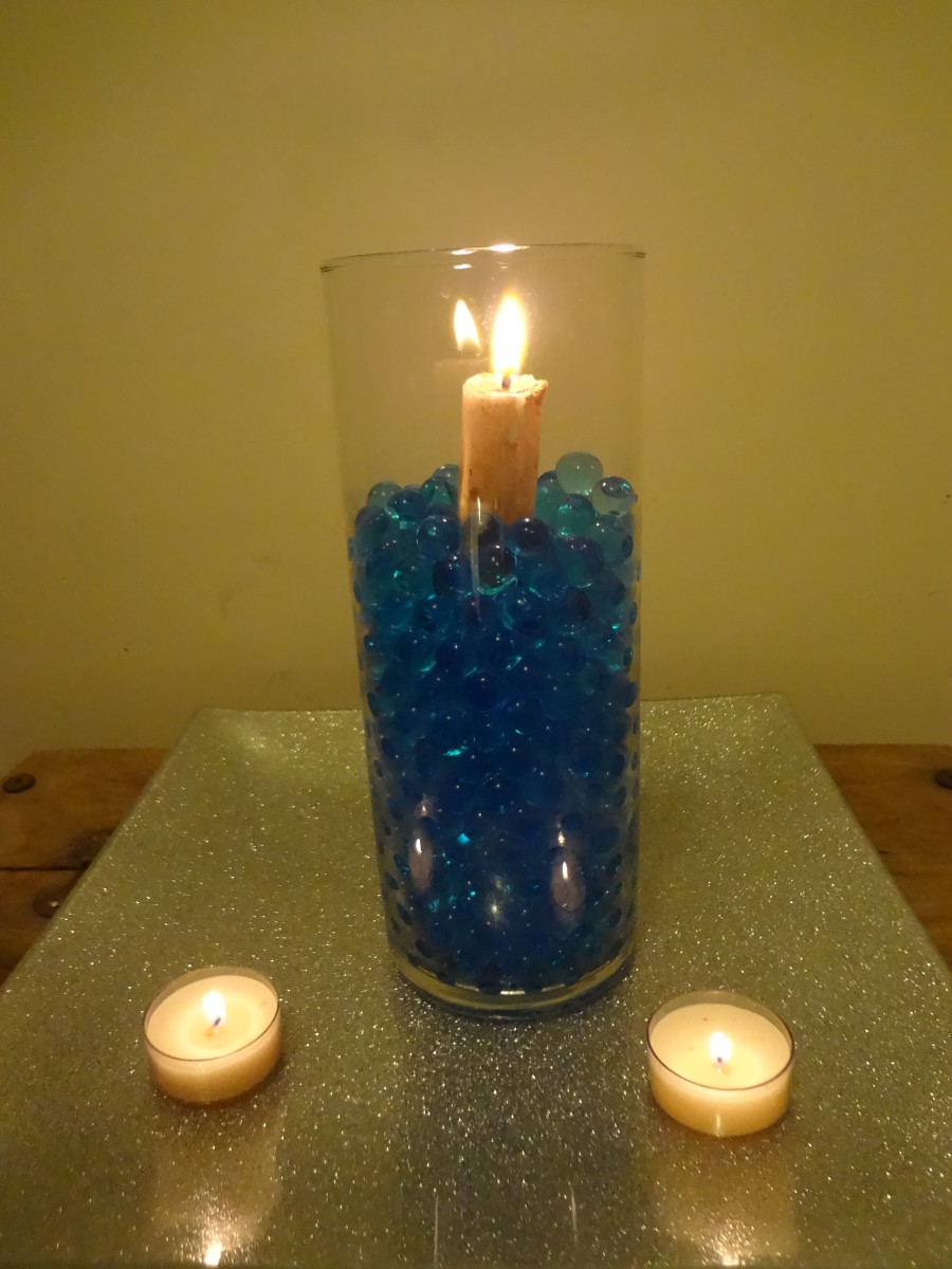 Candle in water beads