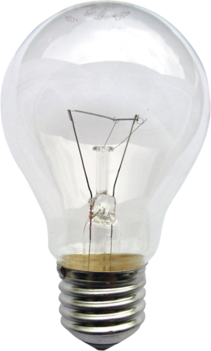Standard incandescent light bulb.