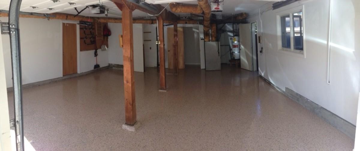 Freshly completed epoxy garage floor