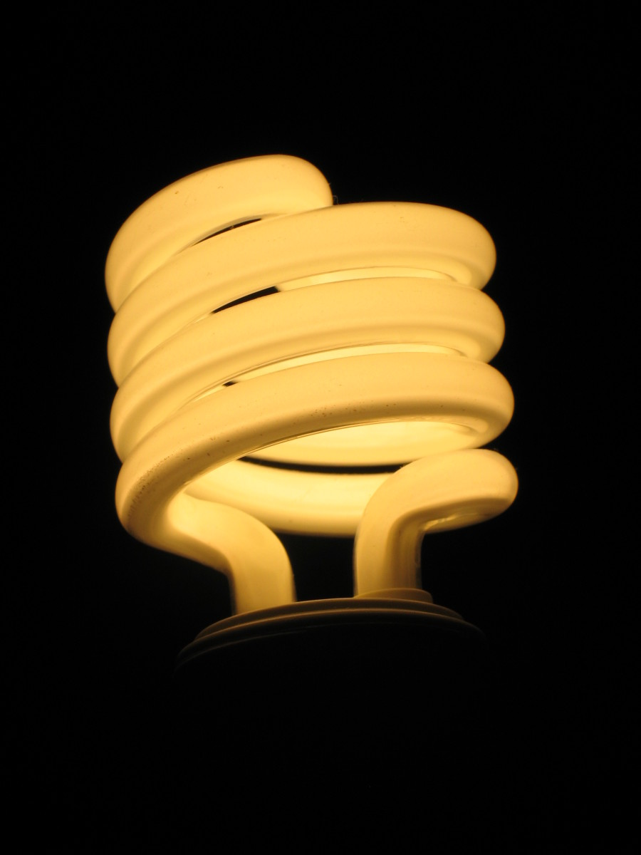A modern CFL, compact fluorescent lamp, lit up.