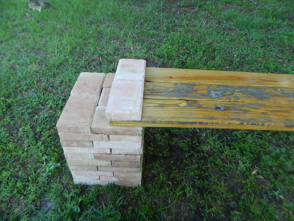Make a diy stone and wood bench quickly and easily dengarden the finished bench publicscrutiny Gallery