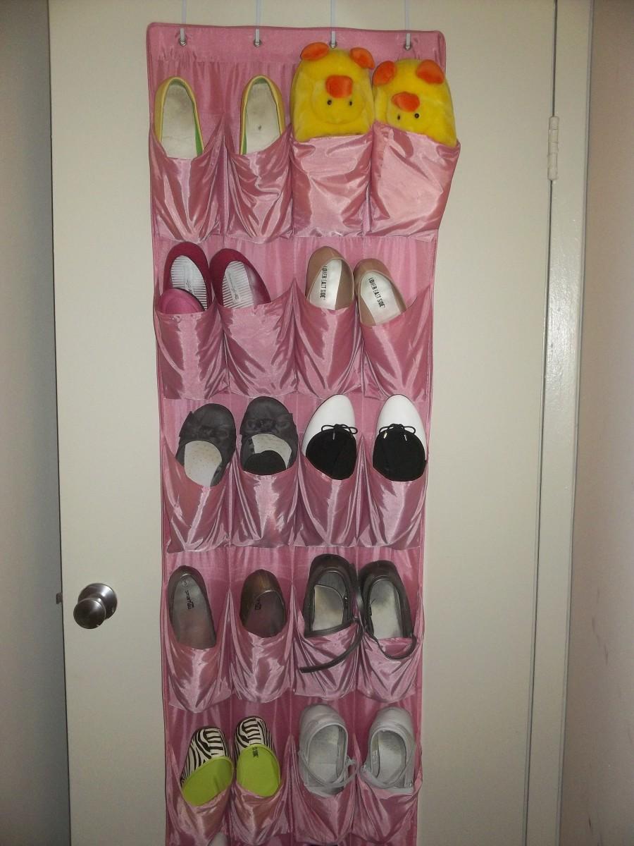 Over-the-door shoe organizer.