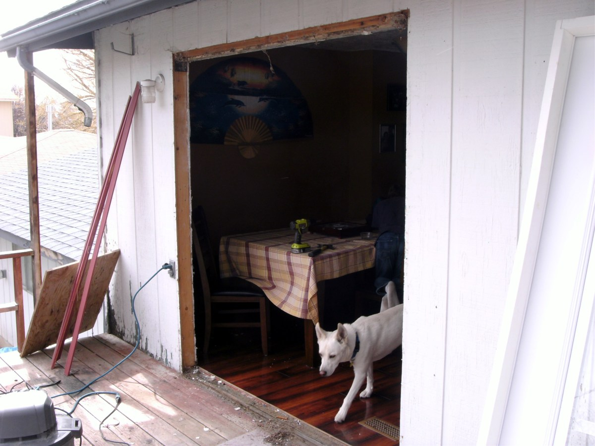 The old door has been removed.
