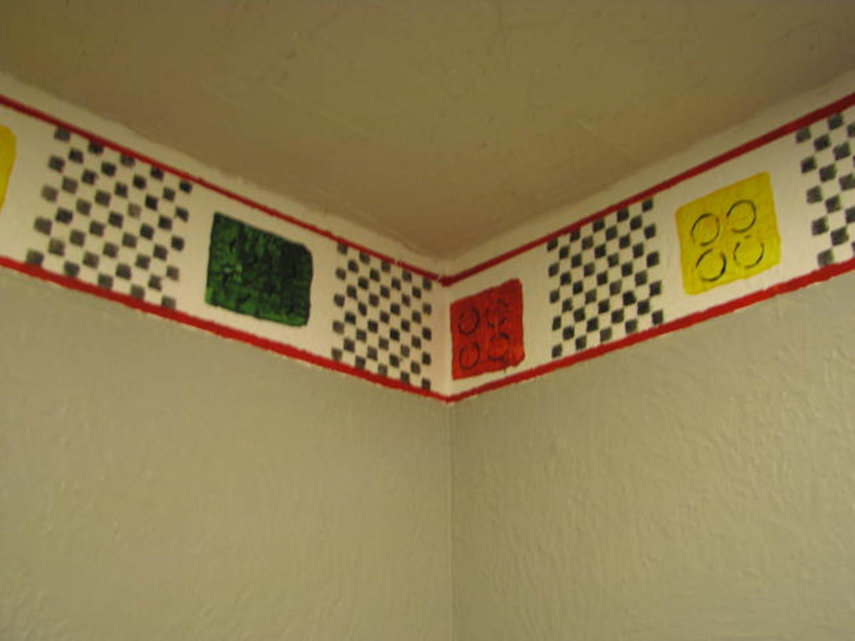 Lego Border painted on wall.