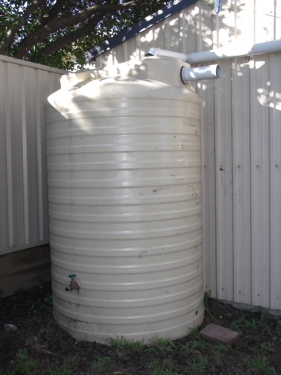 It is easy to harvest water from the roof of a garden shed. If your water tank is not on a stand or platform, remember to place your tap high enough to fit a bucket or watering can beneath it. Some water remains inaccessible - so raise your tank. :)