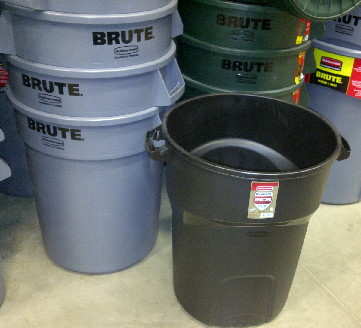 Popular Garbage Can Colors: light blue, forest green, and black