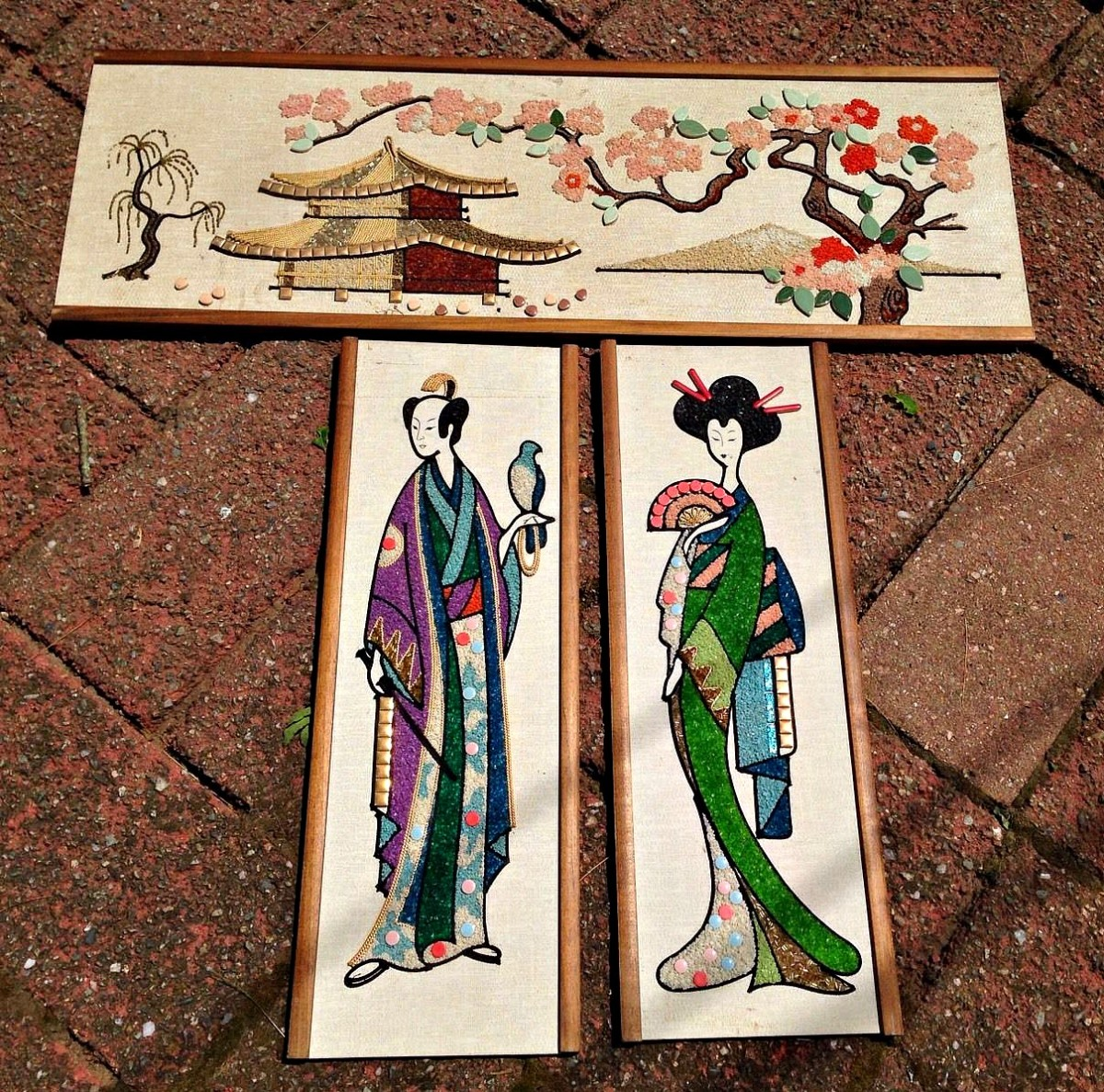 "Three Piece Vintage Asian Gravel Art Set Mid Century Modern. The large one measures 36"" x 12.5. Smaller ones measure 24"" x 8.5."