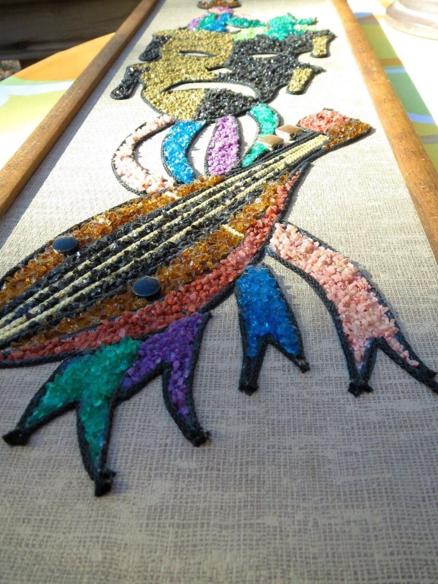 These were made from kits that came complete with gravel, and braids and string for the border edges between the bright and glassy colors, glue was included and the design already printed on a canvas board.