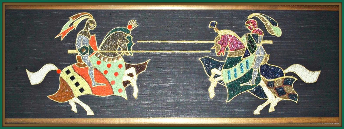 1960s gravel pebble sand rock mosaic, wall knights, hanging art plaques with wood frame