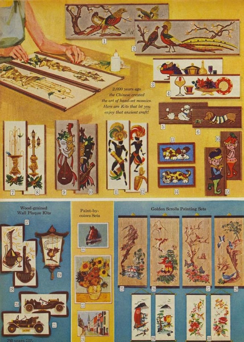 Page from a 1966 Sears catalog showing this art as well as many other designs.