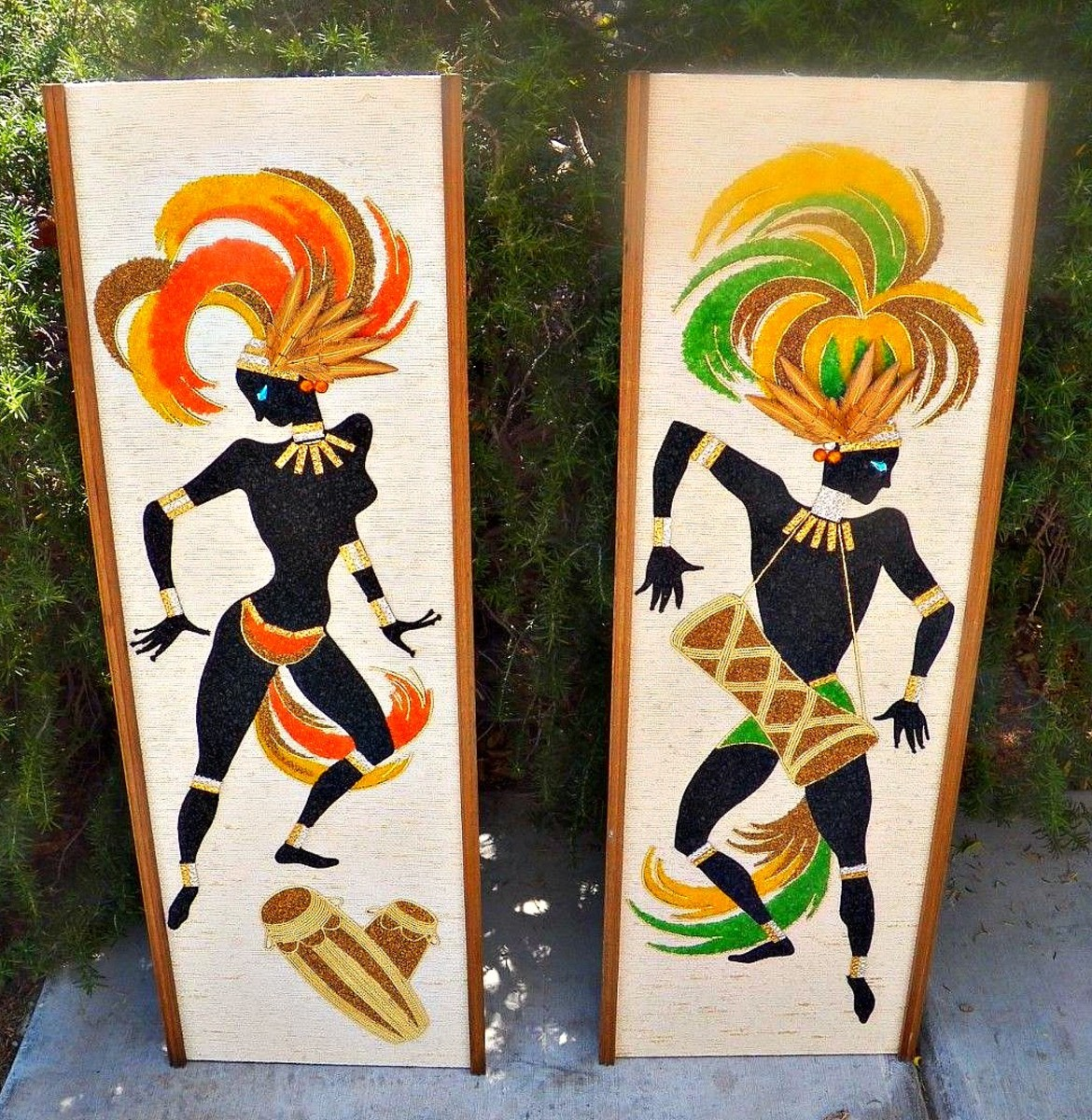 "VINTAGE CRUSHED GRAVEL MOSAIC ART PAIR OF DANCERS MID CENTURY MODERN 13""X36""."