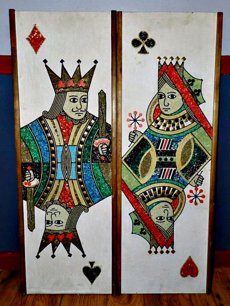 Pair of late 1950s or early 1960s king and queen playing cards gravel wall art. They are 12 1/2 inches wide and 36 inches high.