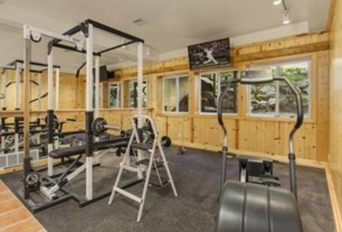 Rustic Home Gym with with plywood walls and dark grey flooring