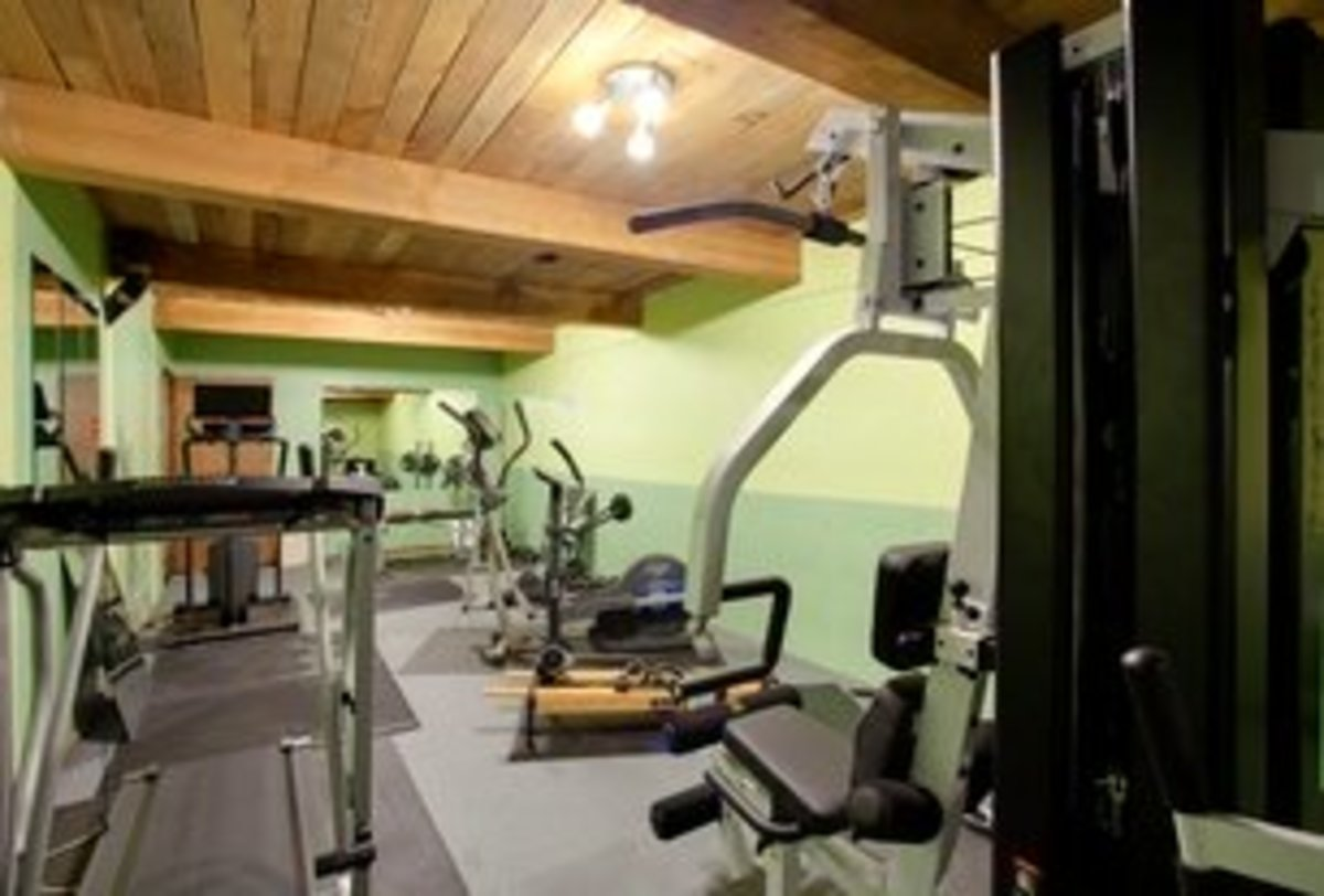 Rustic Home Gym with Wood Ceiling