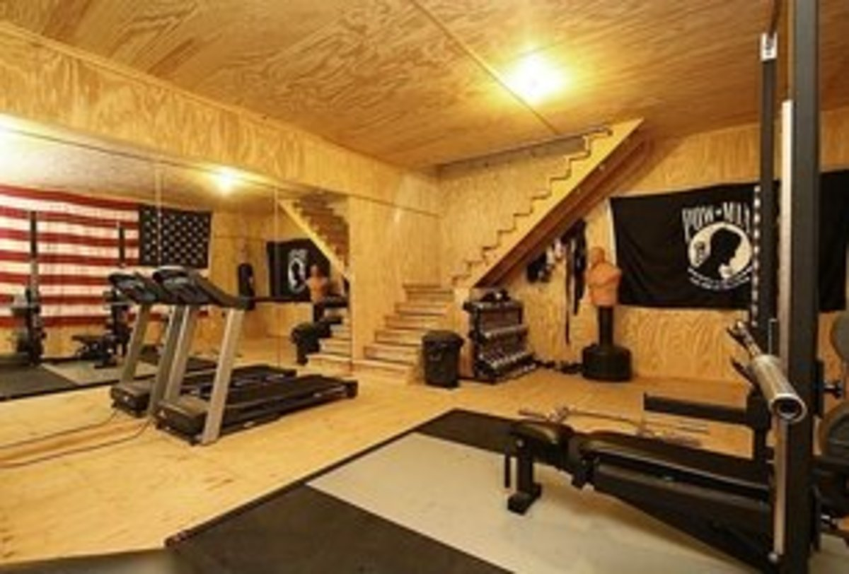 Rustic Home Gym with plywood ceiling and walls and black flooring