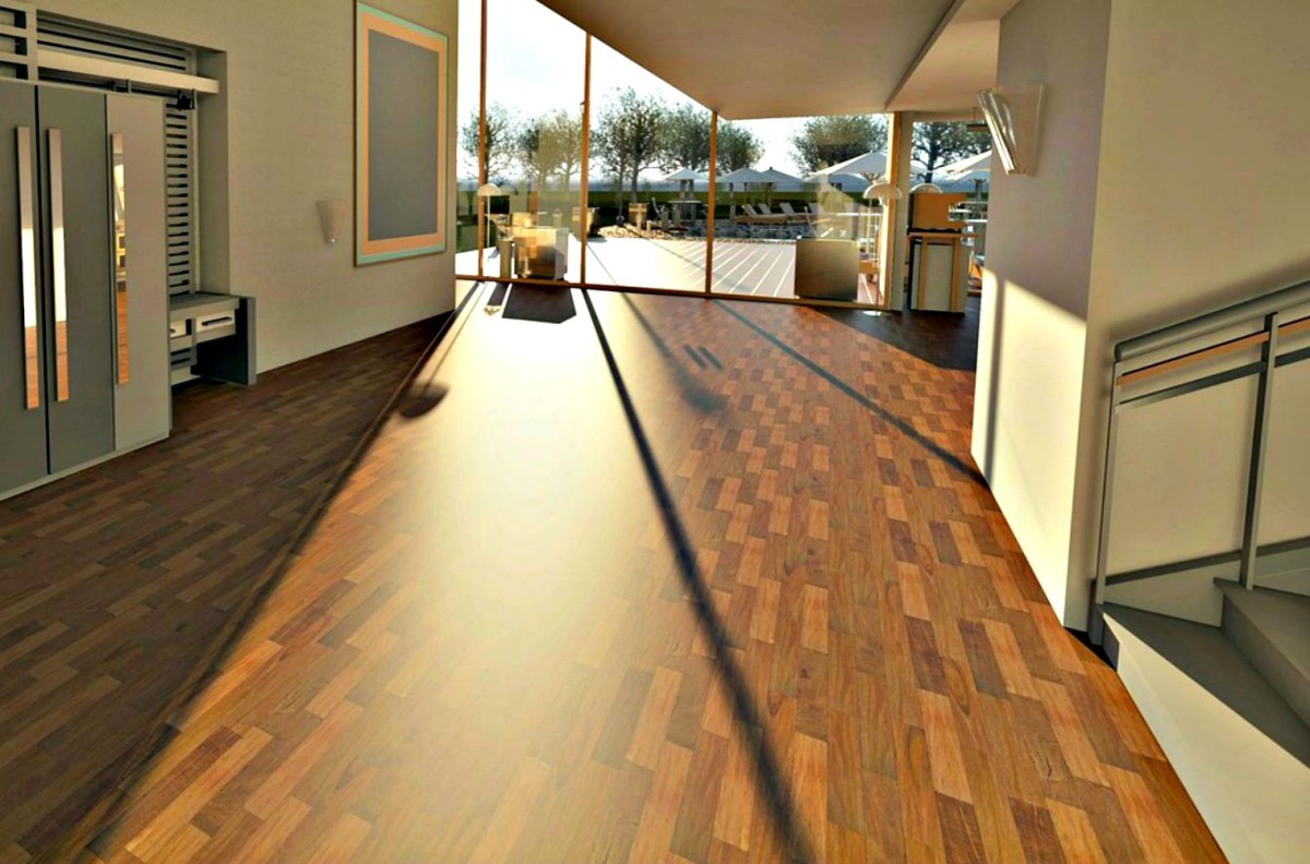 Laminate flooring, properly installed, makes everything look more spacious.