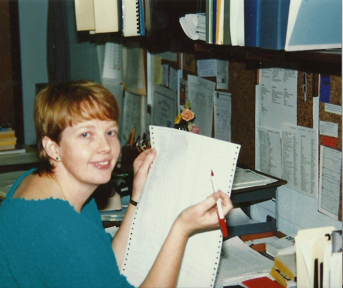 My work style is all-out. You can see from this photo of me, some years ago, that I'm a paper hoarder. I'm trying to cut back on that.