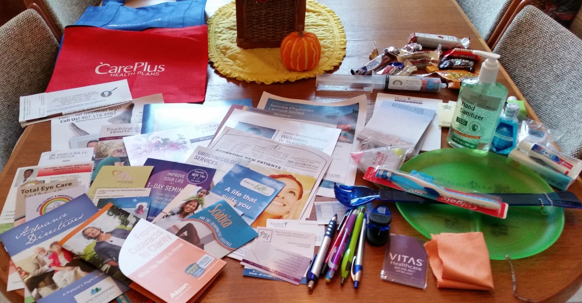 Be careful about adding more STUFF to your home. This is the accumulation of one visit to a health fair. How much will get used and how much will end up as clutter?