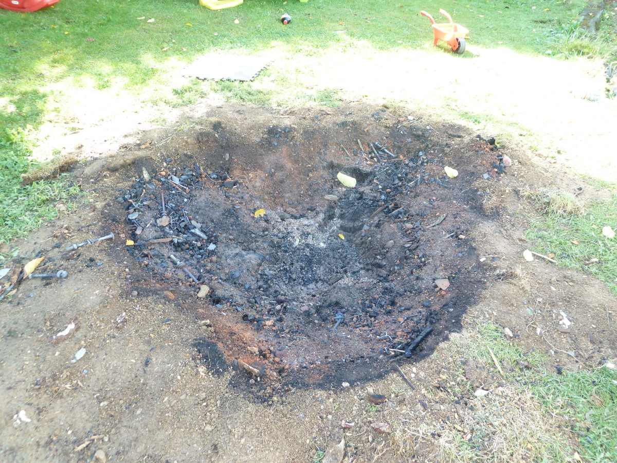 The tree stump has been burned entirely away.