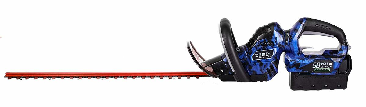 The Zombi ZHT5817 is a strong, lightweight, and durable trimmer that runs off a 58 volt lithium battery. The rotating handle lets you use it vertically to trim tall hedges and get a straight cut without too much effort.