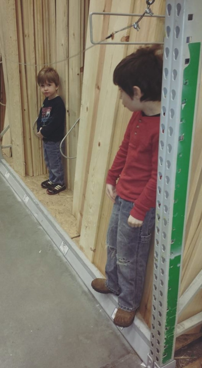 The kids helped me pick out wood!