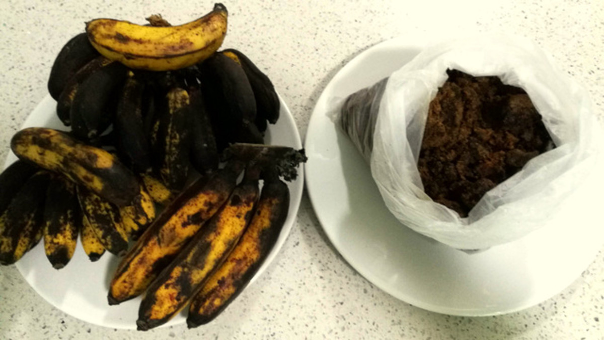 You only need two ingredients - over-ripe bananas and brown sugar