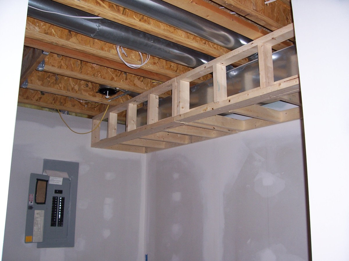 This sheet metal duct system runs between floor trusses.