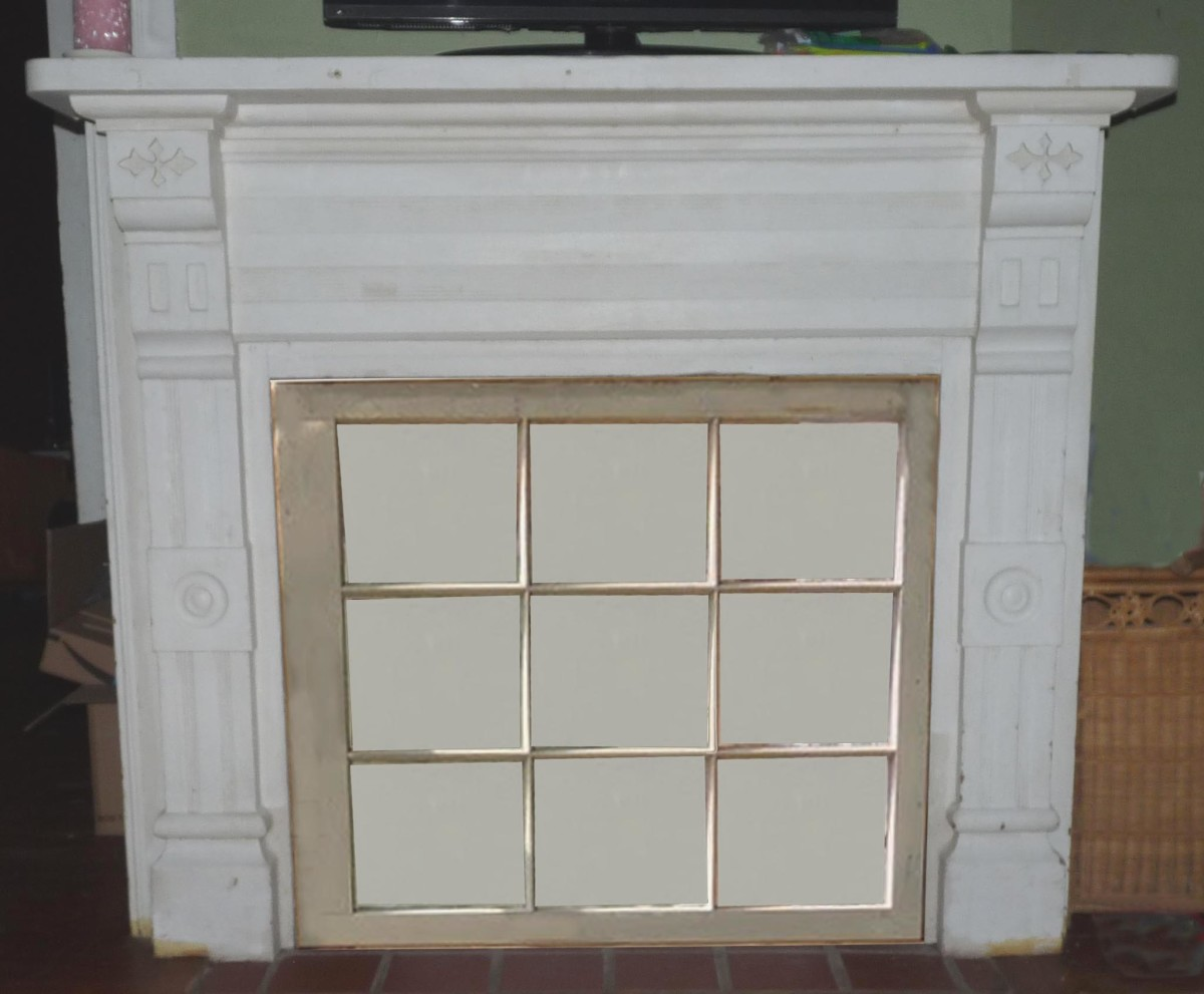 Multi-paned window over closed off fireplace