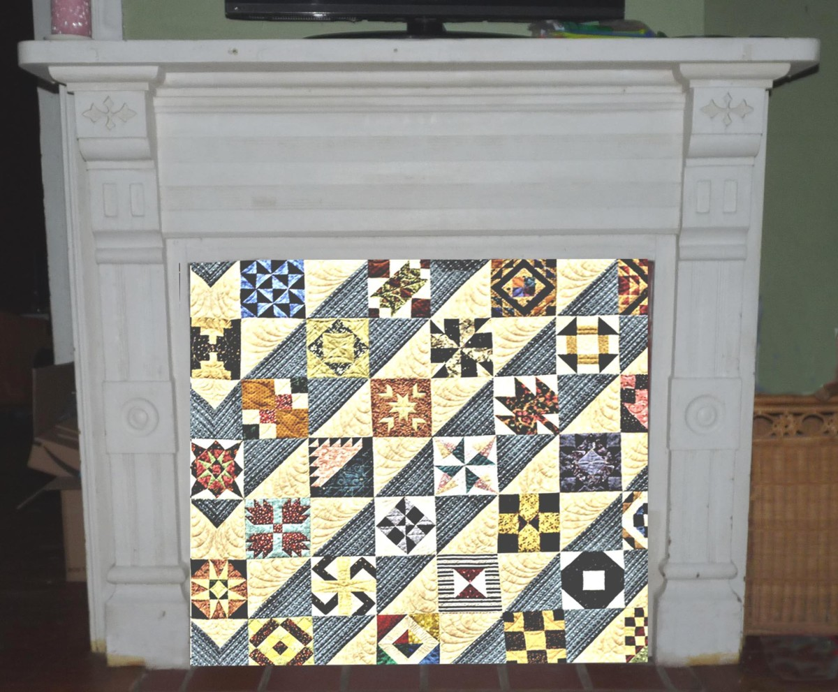 Quilt covering closed off fireplace
