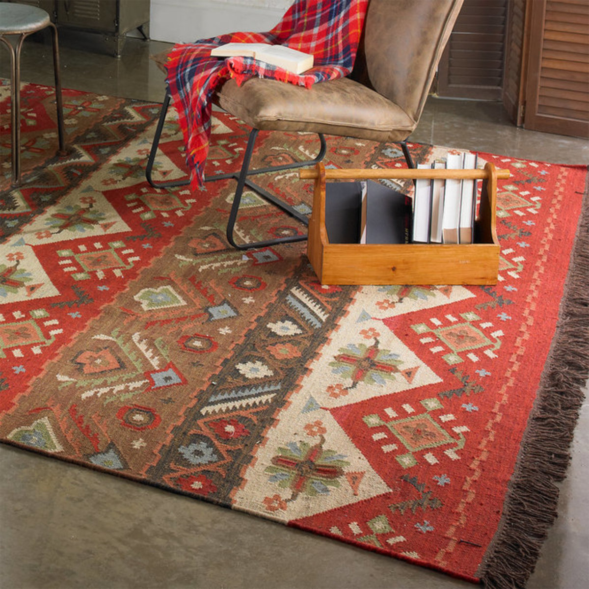Flat-weave rugs are made on looms, similar to woven fabrics.