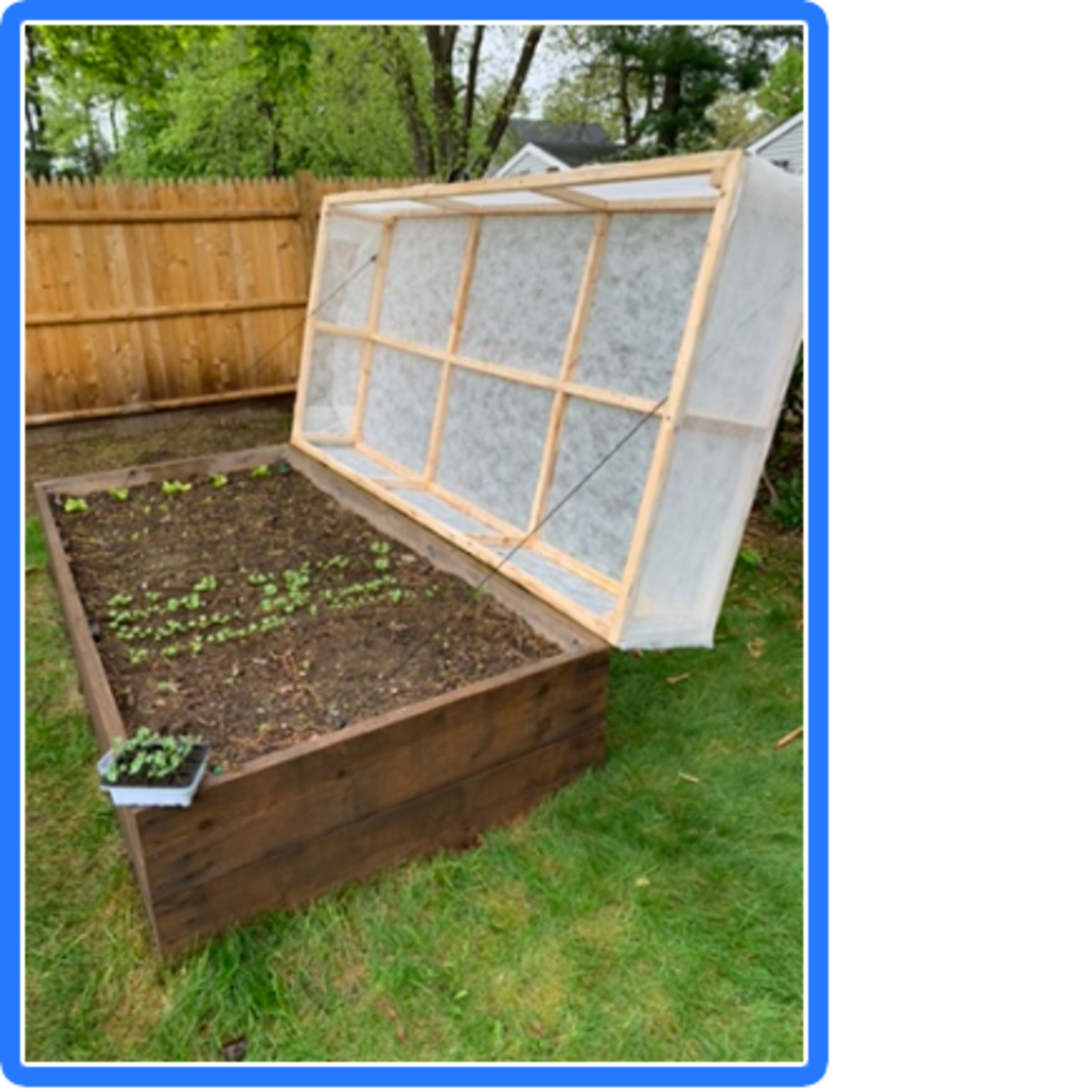 Wooden frame installed on raised bed with row cover attached.
