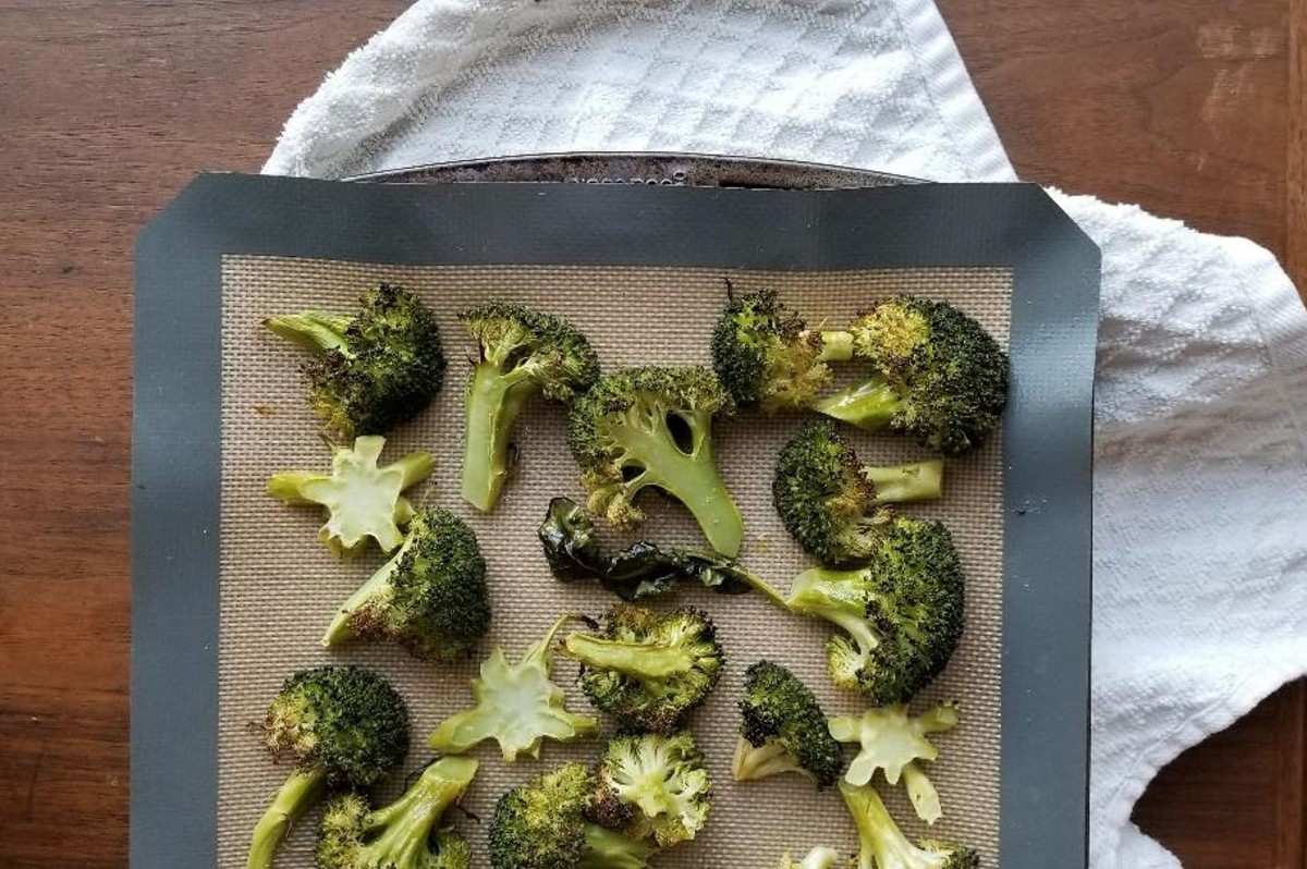 """Remember that """"use the whole vegetable"""" thing? Broccoli stems and leaves are delicious!"""
