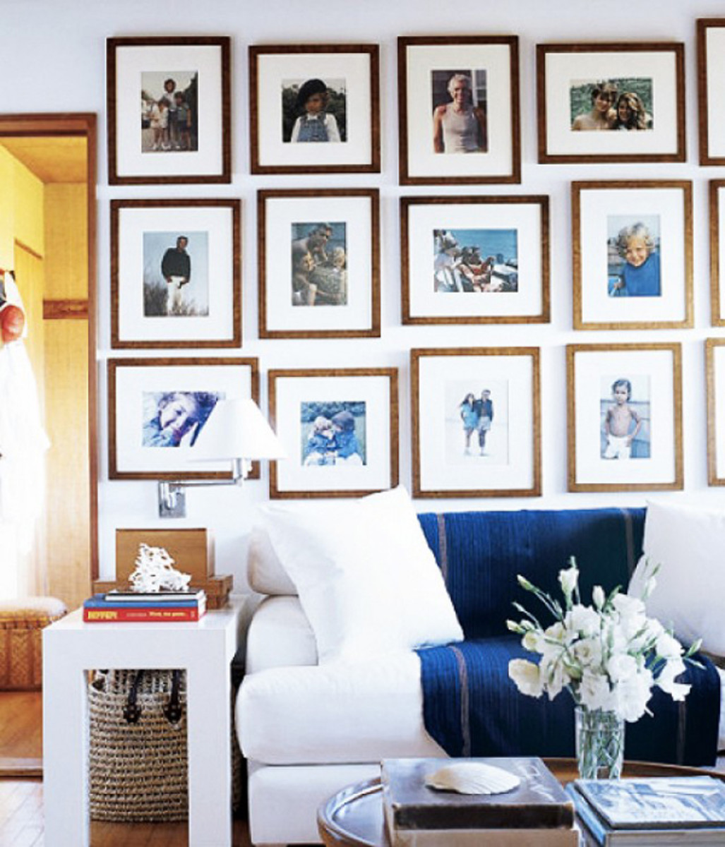 Creating a vintage family gallery can span from previous decades to more recent images.