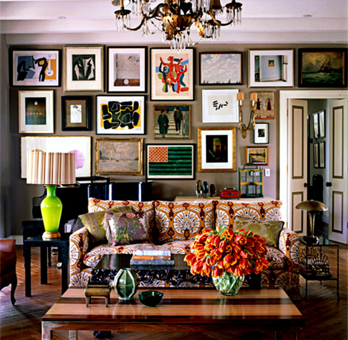 Take the time to choose a wall color that works with the collection of artwork or photos.