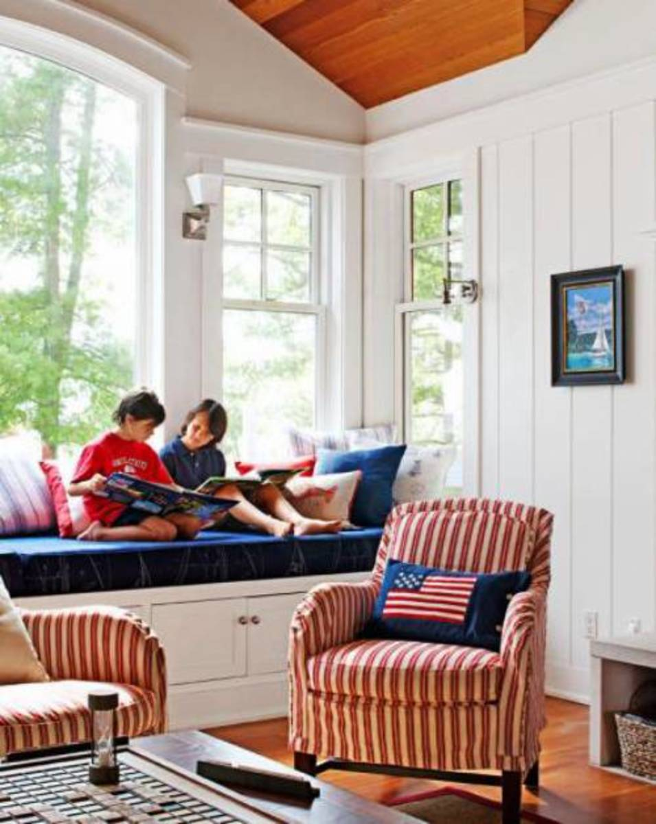 Find durable canvas slipcovers for your chairs and easily cleanable cushions during the kids' time off.