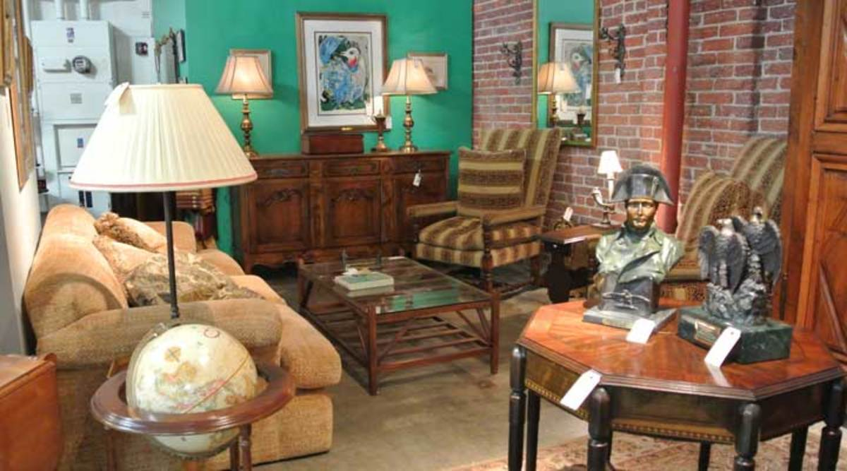 An estate sale is a great way to find budget-friendly vintage furniture and art with personality.
