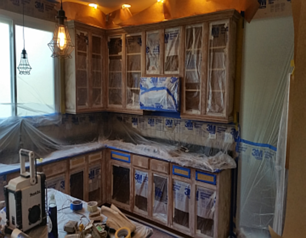 How To Mask Wall Cabinets For Spray Painting Dengarden
