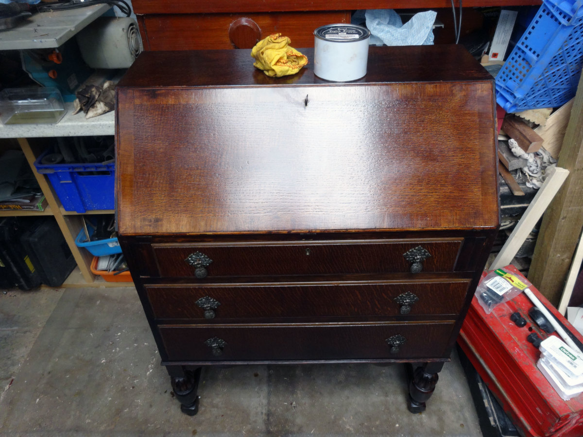 Writing desk bureau waxed and polished.