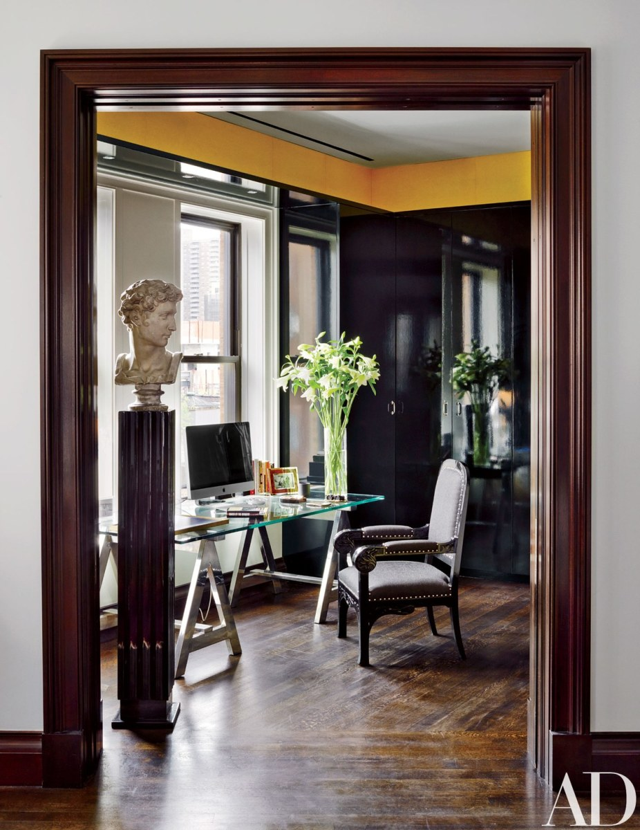The past and present give this old world office an elegant contemporary design.